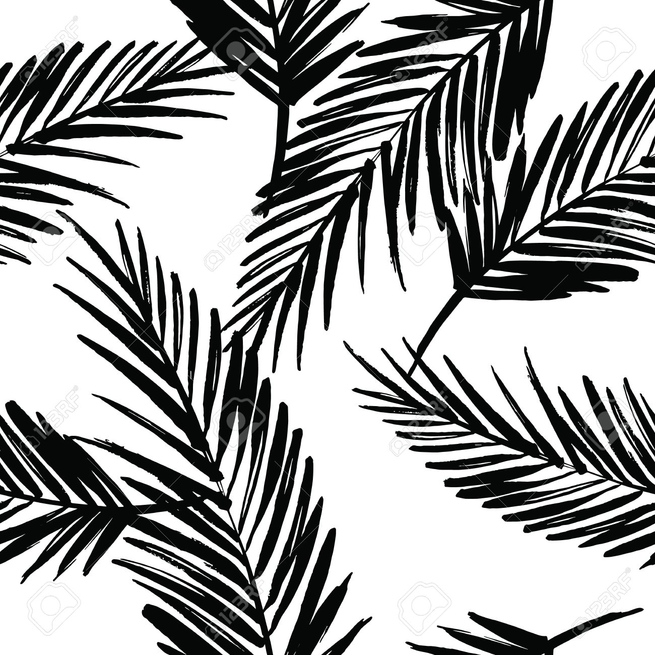 1300x1300 Seamless Exotic Pattern With Palm Leaves Vector Hand Draw