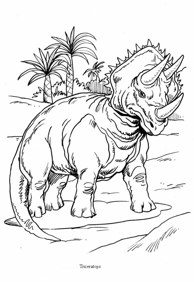 633x922 Triceratops And Palm Trees Coloring Pages