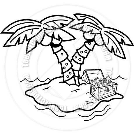 460x460 Cartoon Island With Palm Trees And A Treasure Chest (Black Amp White