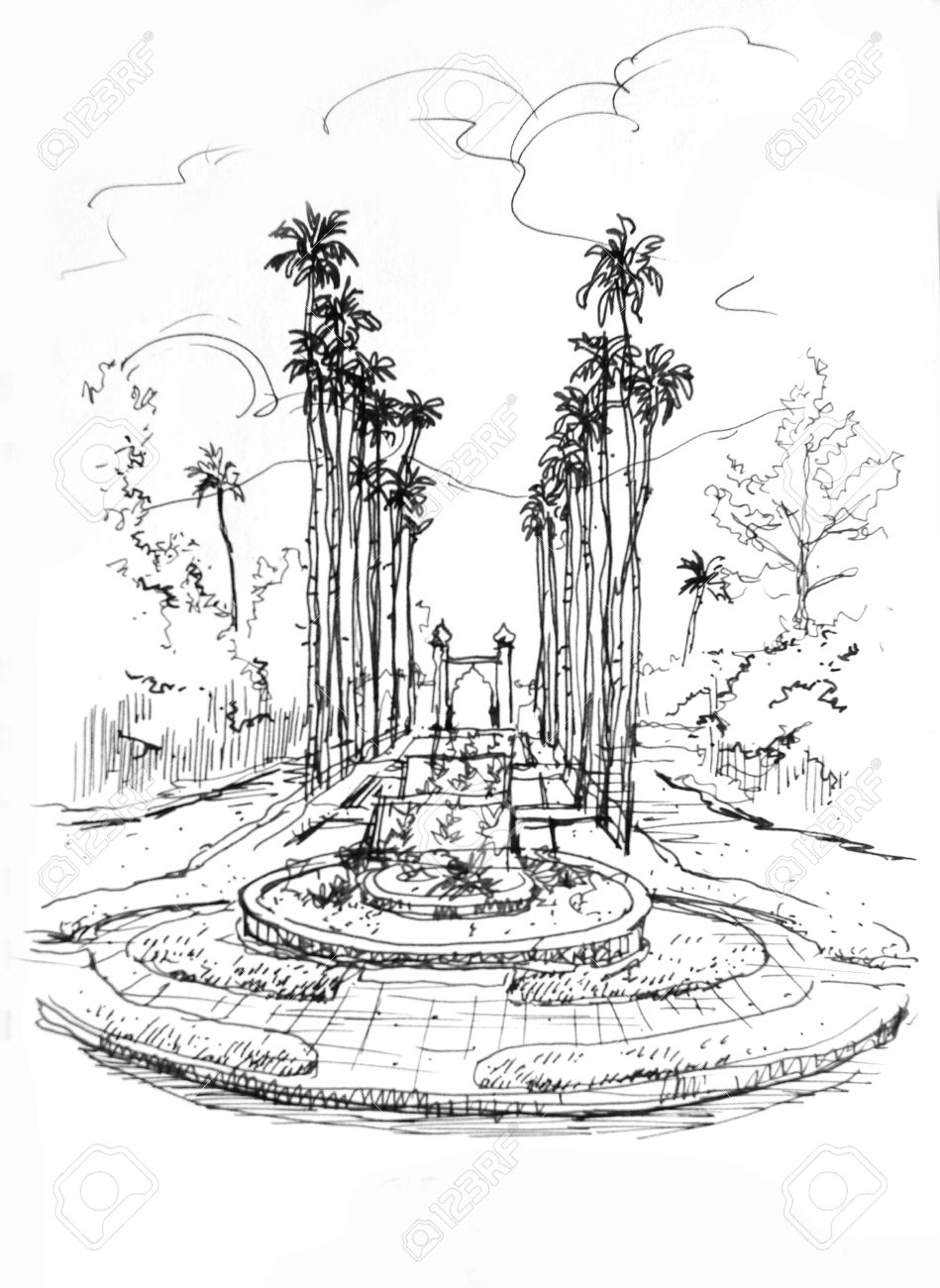 949x1300 Fountain Entrance With Palm Tree Pencil Drawing Stock Photo