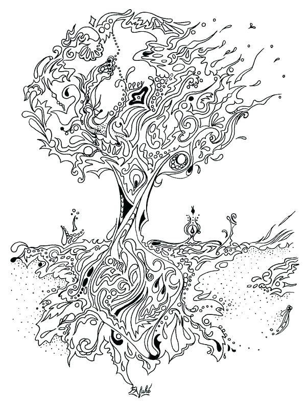 597x800 Coloring Book Trees Plus Falling Bare Fall Tree Pencil And