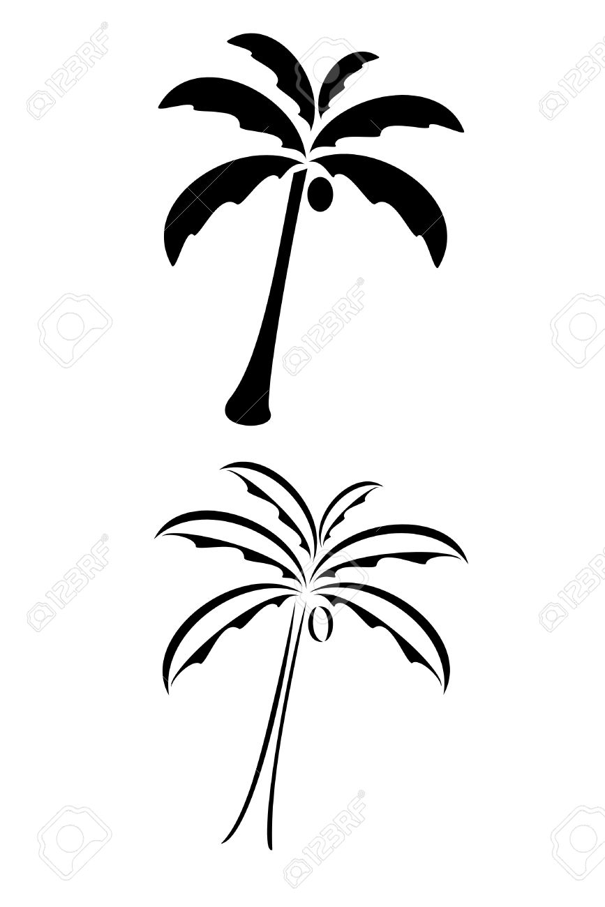 867x1300 A Black Tribal Palm Tree Tattoo Royalty Free Cliparts, Vectors