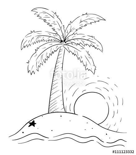 438x500 Palm Tree With Sketchy Style On The Island With Ocean Wave