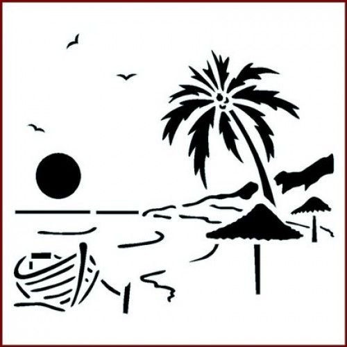 500x500 St Tropical Sunset Stencil Sunset, Stenciling