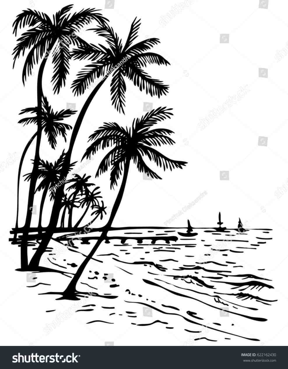 988x1264 Easy Lscape Drawinfo Easy Beach Sunset Drawing Black