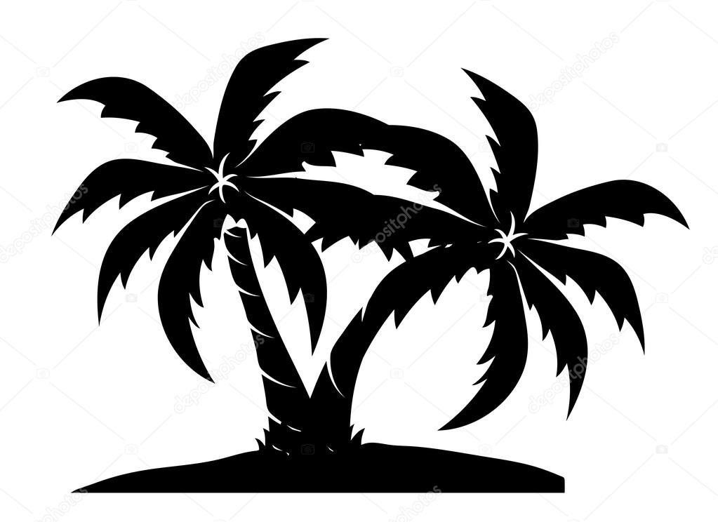 1023x744 Beach Palm Trees Stock Vector Baavli