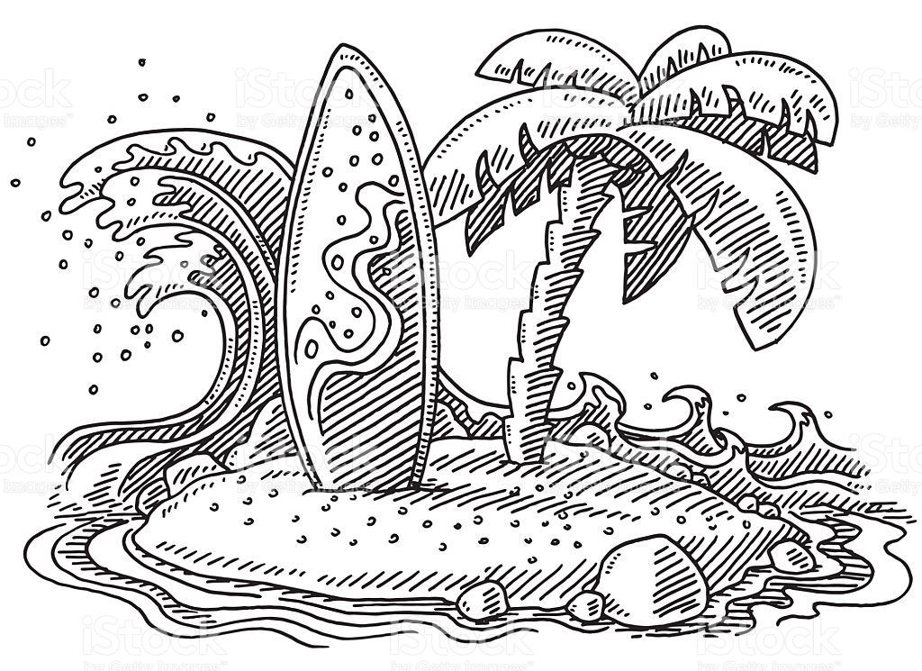 1024x745 Drawn Surfboard Palm Tree