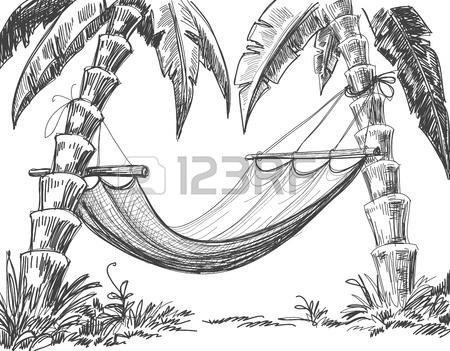 450x351 Hammock Palm Trees Drawing Royalty Free Cliparts, Vectors,
