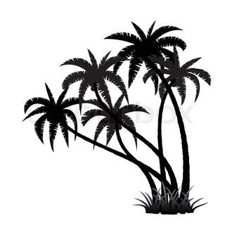 320x320 Palm Tree With Coconut, Element For Design, Vector Illustration