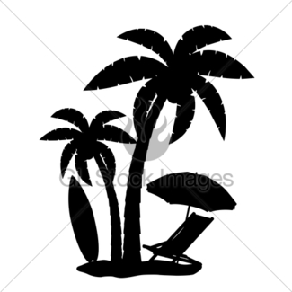 325x325 Silhouette Of Palm Trees Realistic Vector Illustration Gl Stock