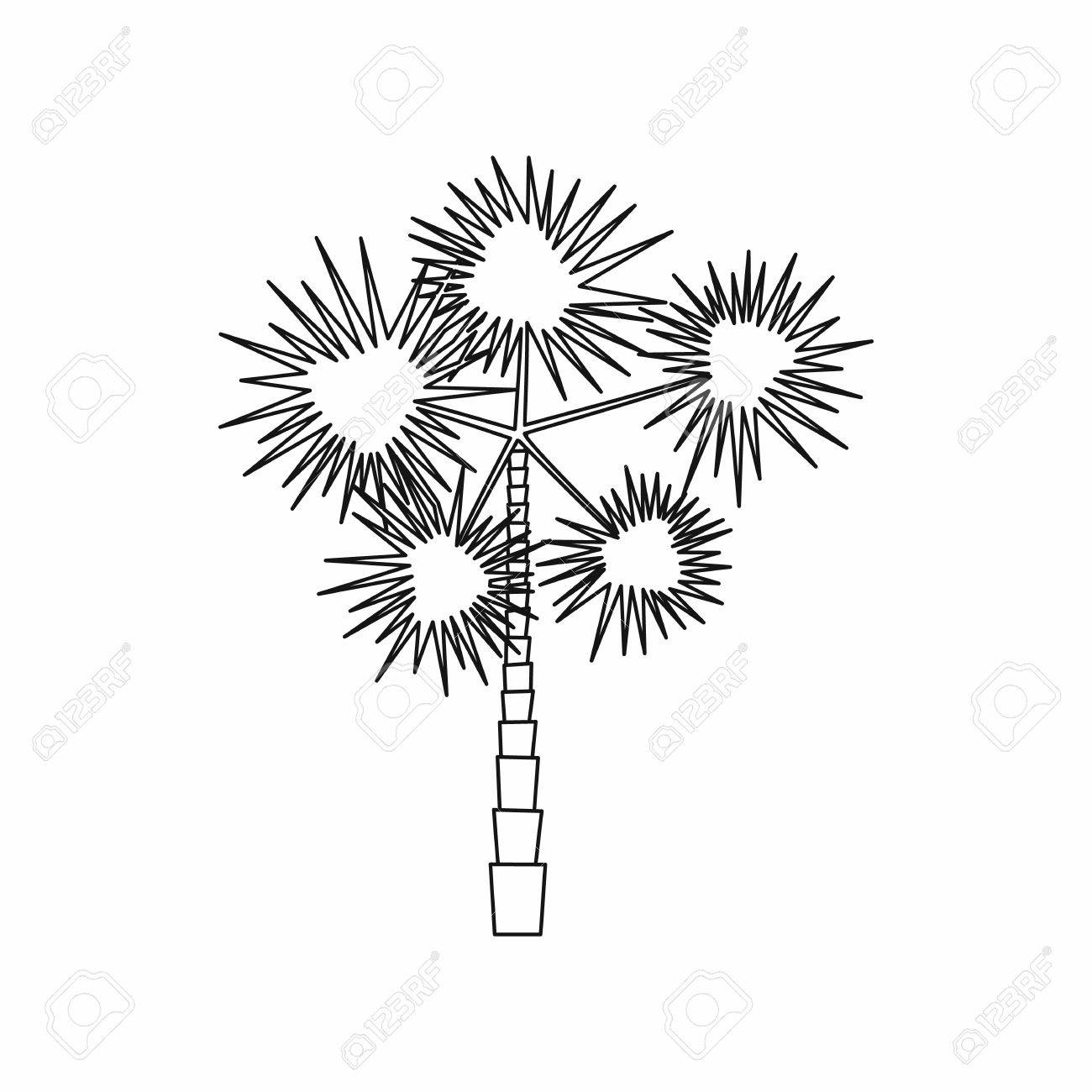 1300x1300 Spiny Tropical Palm Tree Icon In Outline Style Isolated On White