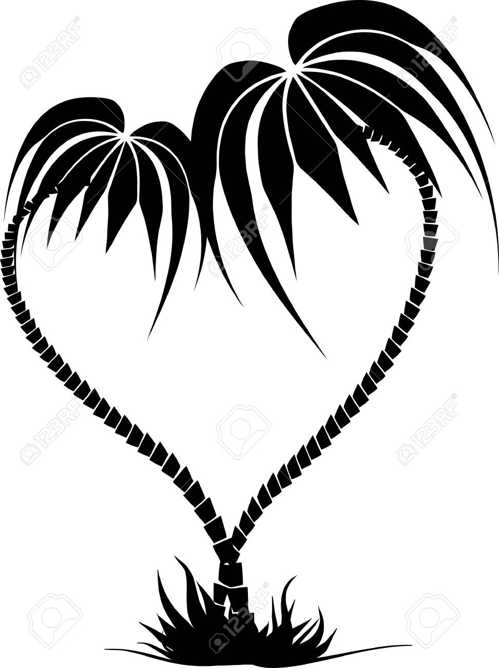 972x1300 Drawing Of Two Palm Trees In The Form Of Heart On The Isolated