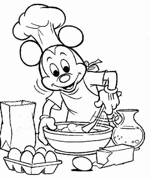 500x598 Pancake Coloring Pages Mickey Making Cake Coloring Page Boys Pages