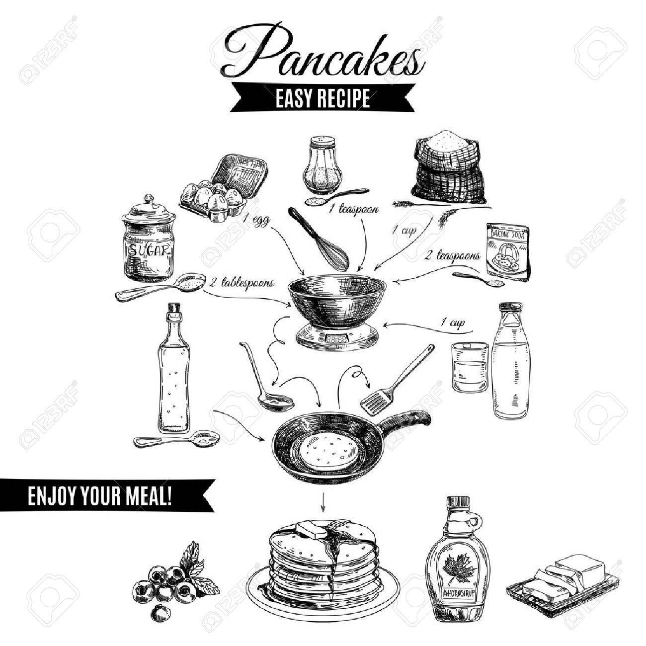 1300x1300 Vector Hand Drawn Pancakes Illustration. Vintage Set With Milk