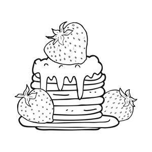 300x300 Freehand Drawn Black And White Cartoon Pancake Stack