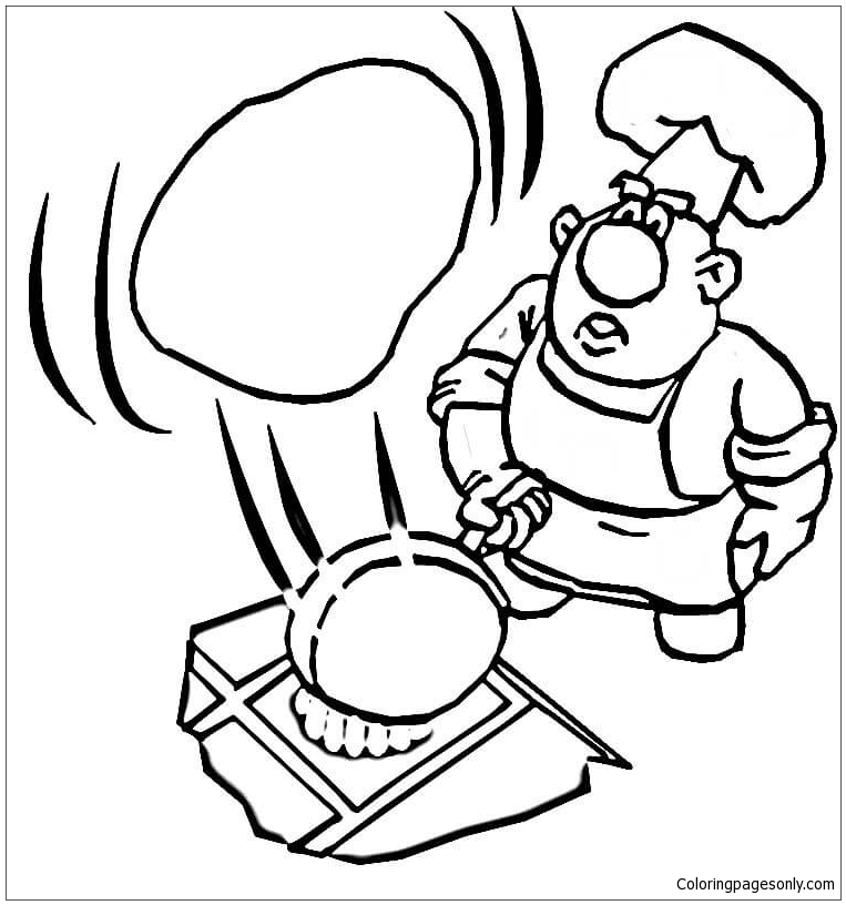 763x816 Cooking A Pancake Coloring Page