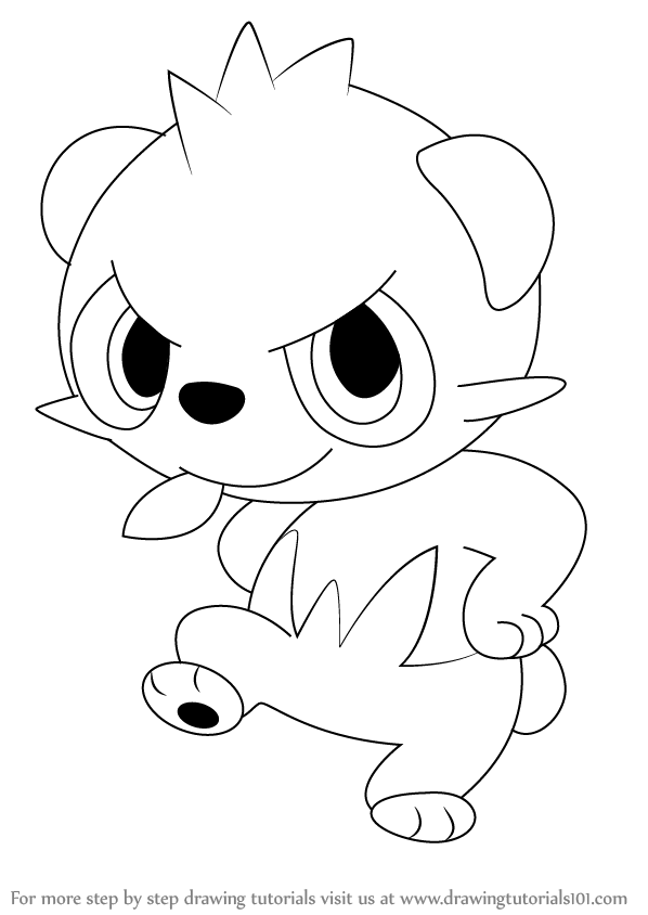 598x844 Learn How To Draw Pancham From Pokemon (Pokemon) Step By Step