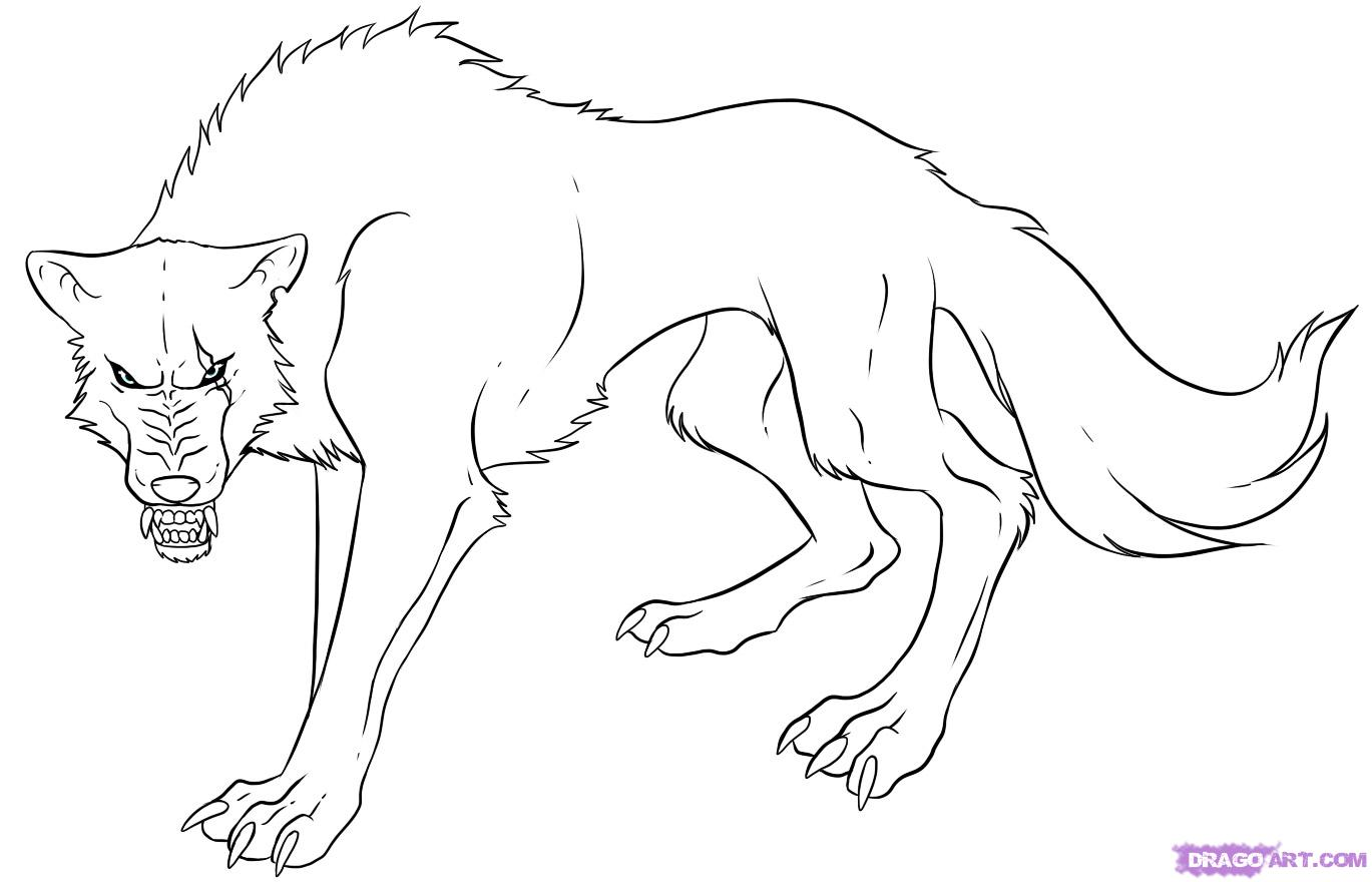 1369x880 Sketches Of Mean Dogs How To Draw An Anime Wolf, Step By Step