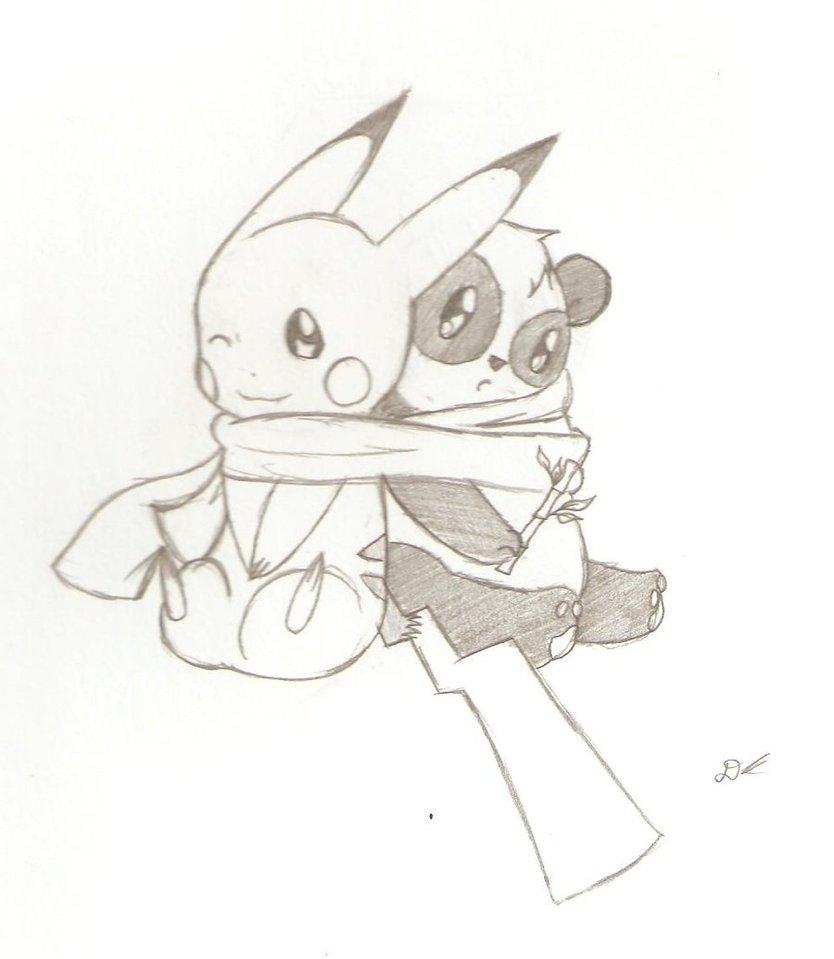 834x959 At Pikachu And Panda By Danishangel