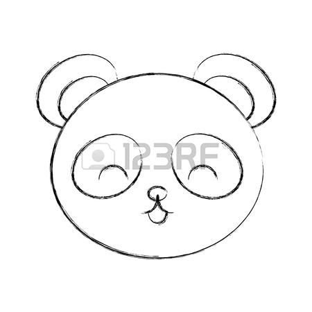 450x450 Cute Sketch Draw Panda Bear Face Graphic Design Stock Photo