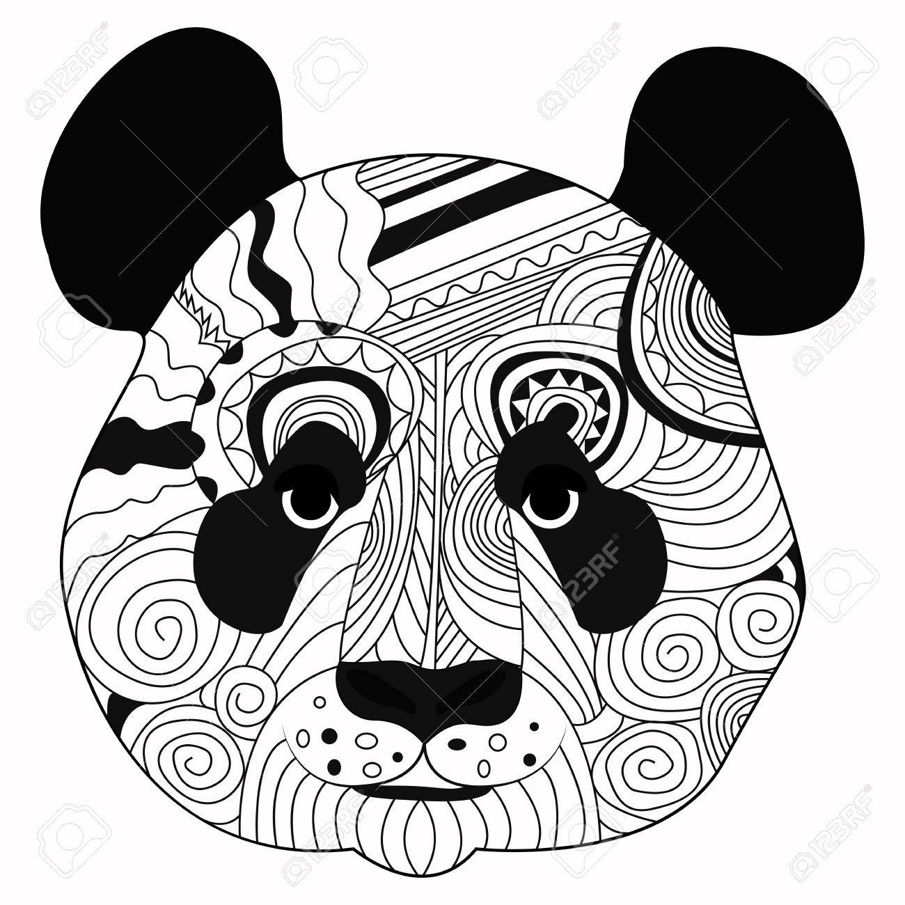 1300x1300 Line Art Hand Drawing Black Panda Isolated On White Background