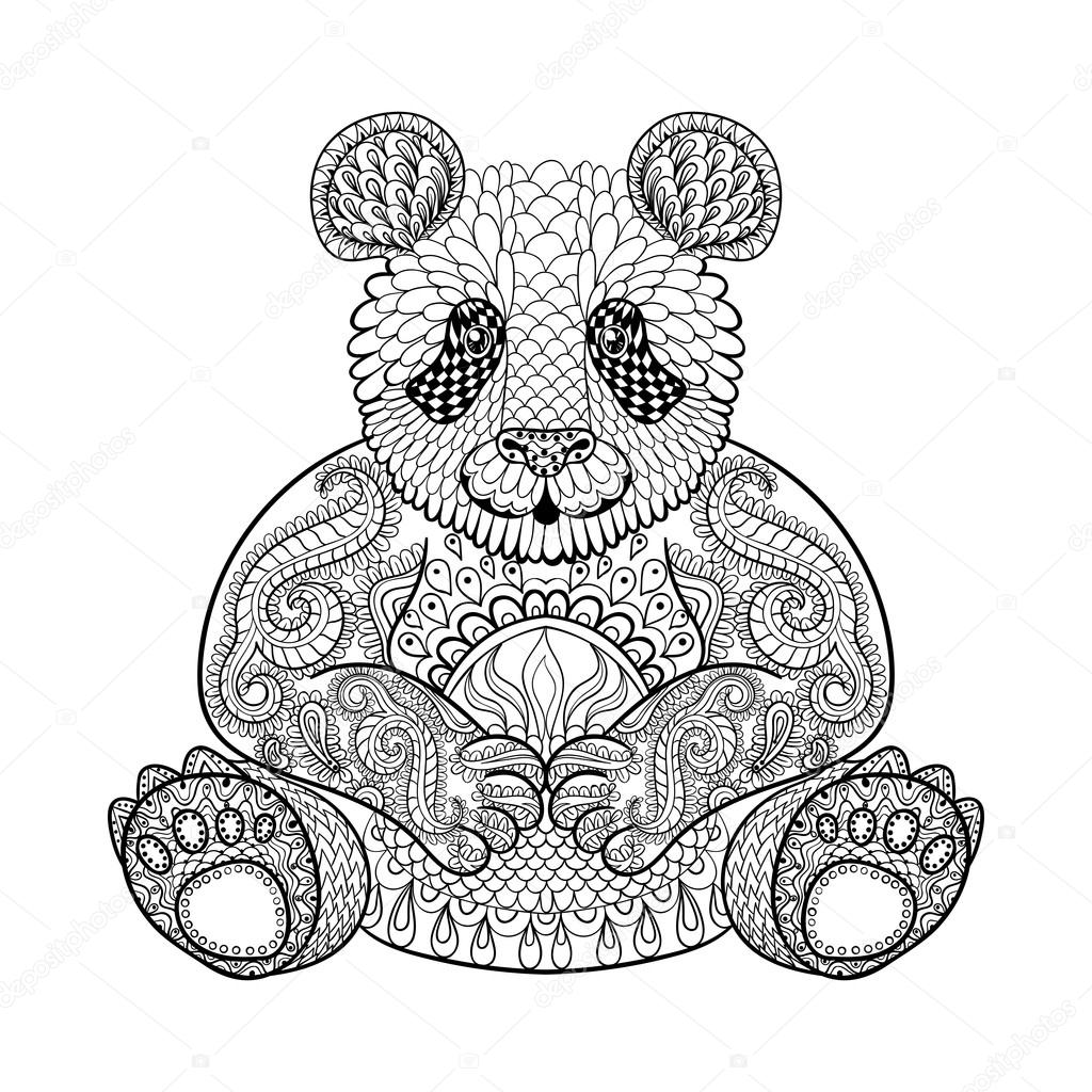 1024x1024 Hand Drawn Tribal Panda, Animal Totem For Adult Coloring Page