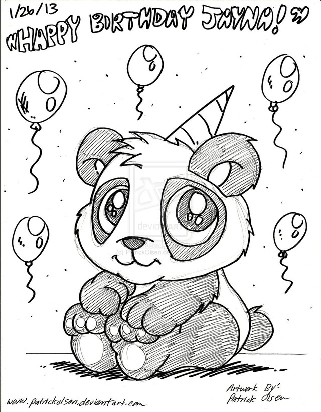 640x823 Birthday Panda Drawing