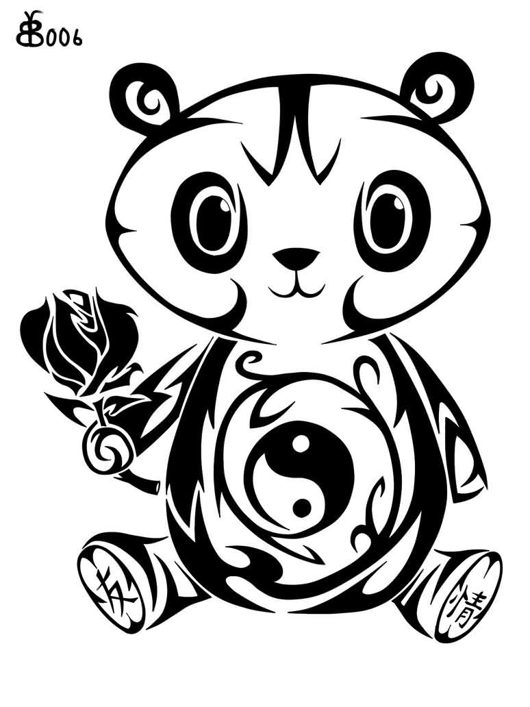 774x1032 Collection Of Tribal Bamboo Tree And Panda Tattoo Sketch