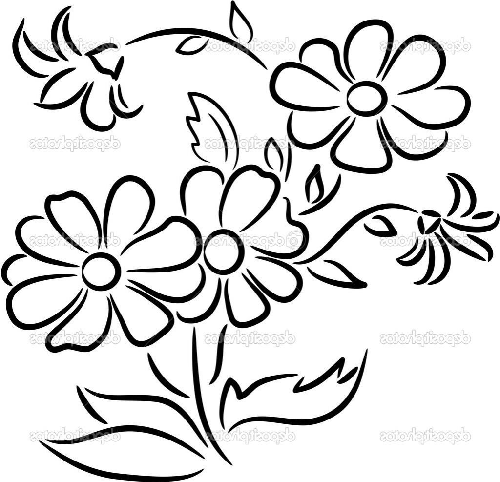 1024x987 Flowers Drawing Pictures Bunch Flower Drawing Bouquet