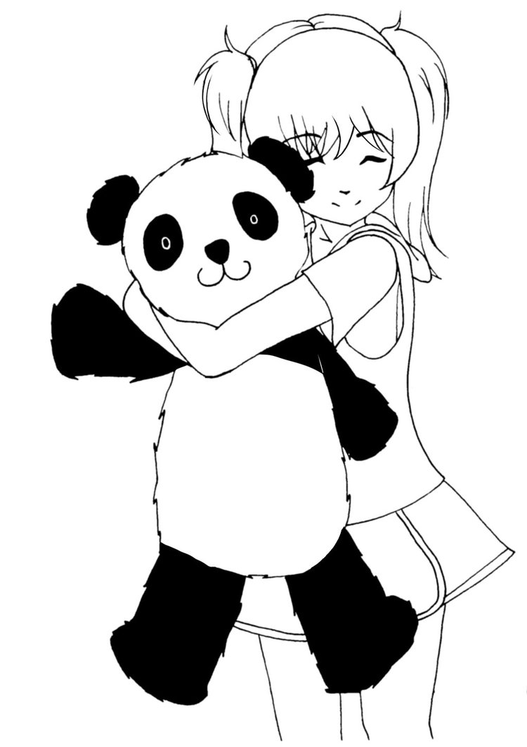 750x1064 Girl Holding Panda Doodle By Dezeya