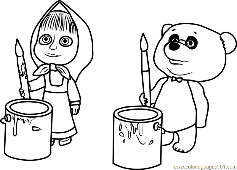 800x575 Masha And Panda Coloring Page