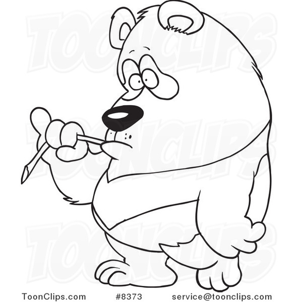 581x600 Cartoon Black And White Line Drawing Of A Bored Panda Eating