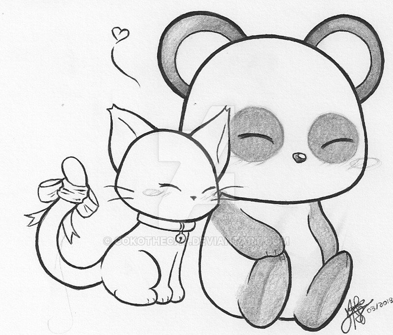 800x681 Cat And Panda By Cokothecat