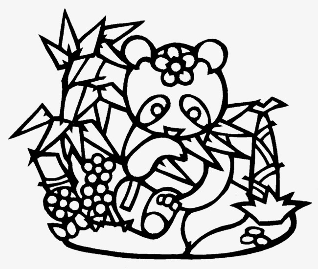 650x550 Hand Painted Lines Panda Eating Bamboo, Hand Painted, Line, Panda