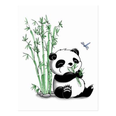400x400 Panda Bears And Bamboo Thank You Postcard