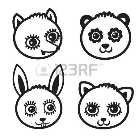 450x450 Childish Background. Cat, Panda, Fox, Bear, Rabbit. Seamless
