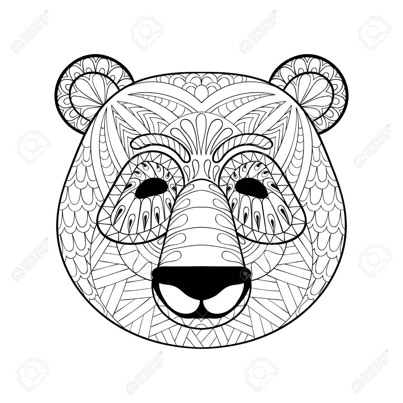 1299x1300 Head Of Panda In Style. Freehand Sketch For Adult Antistress