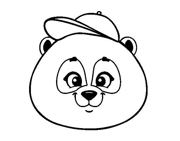 600x470 Panda Face With Hat Coloring Page