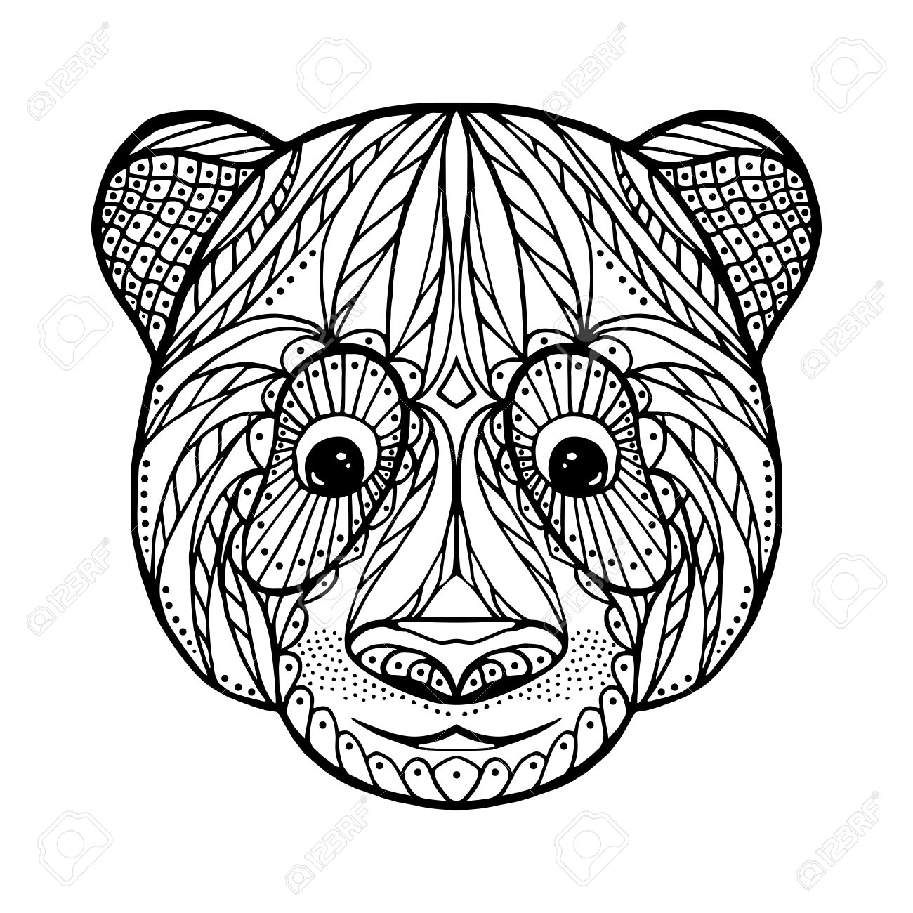 1300x1300 Zen Tangle Head Of Panda, For Adult Anti Stress Coloring Page