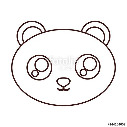 500x500 Kawaii Panda Bear Face Icon Over White Background. Vector