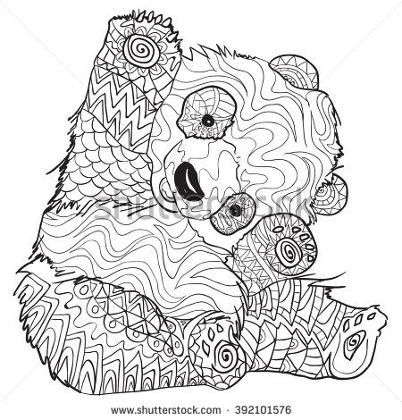 450x470 Hand Drawn Coloring Pages With Panda, Illustration For Adult Anti