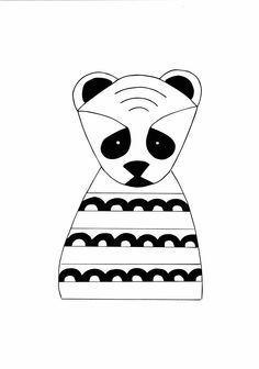 236x336 Hand Drawn Handmade Adorable Panda Thinking Of By The3citrusteers