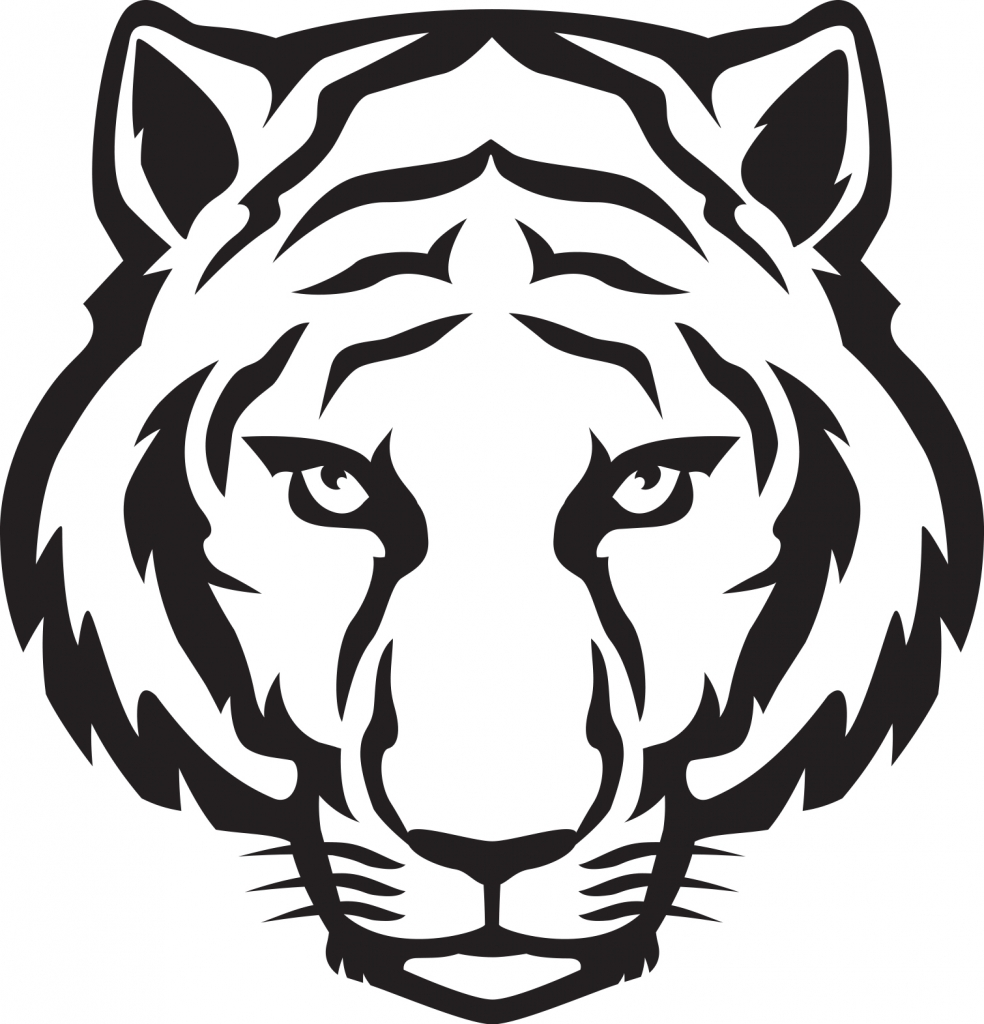 984x1024 Tiger Drawing Easy Tiger Face Clip Art Black And White Clipart