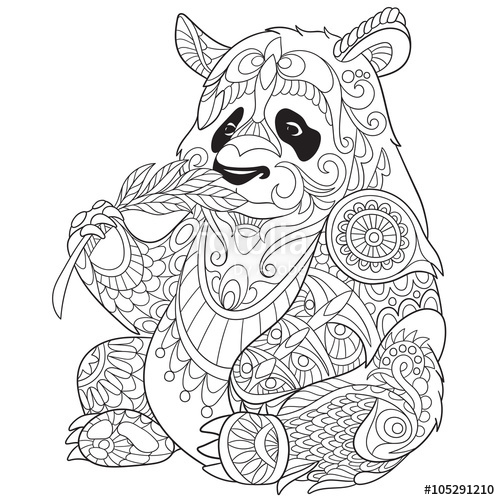 500x500 Zentangle Stylized Cartoon Panda, Isolated On White Background