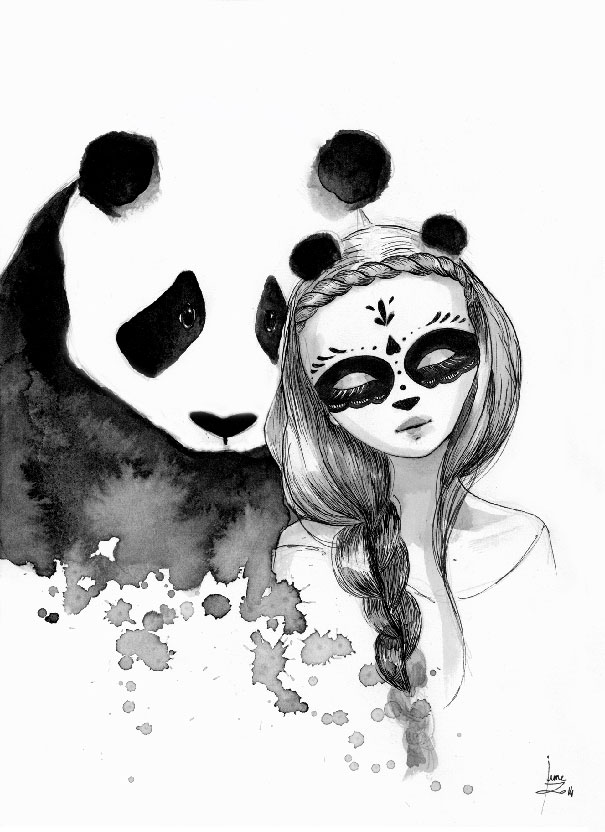 605x832 Panda Ink Drawing Pandamonium June Leeloo013 Animal Illustration