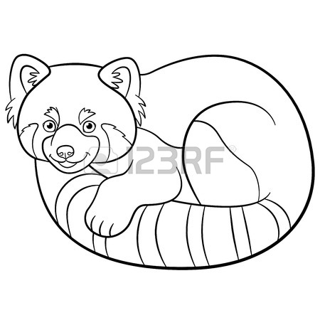 450x450 Coloring Page Red Panda. Two Little Cute Red Pandas Smile