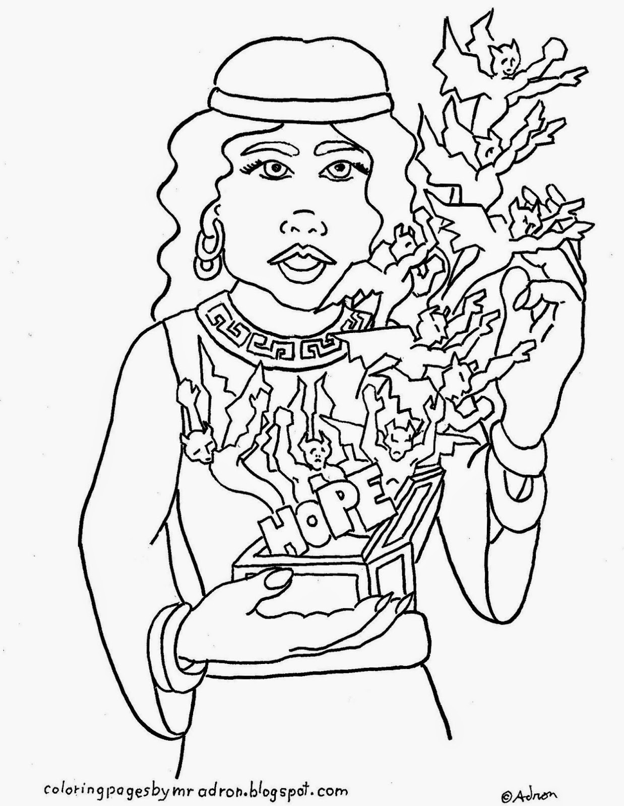1238x1600 Coloring Pages For Kids By Mr. Adron Greek Myth, Pandora's Box