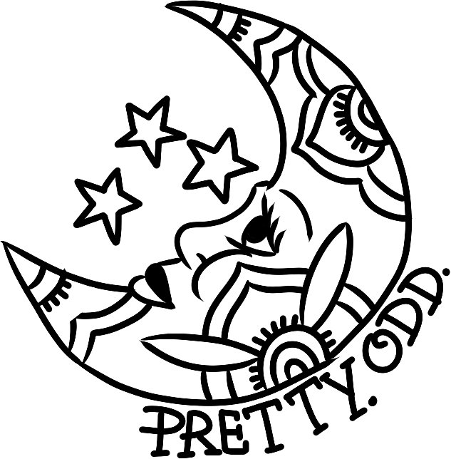 633x644 Pretty. Odd. Moon Stickers By Jacksonoli Redbubble