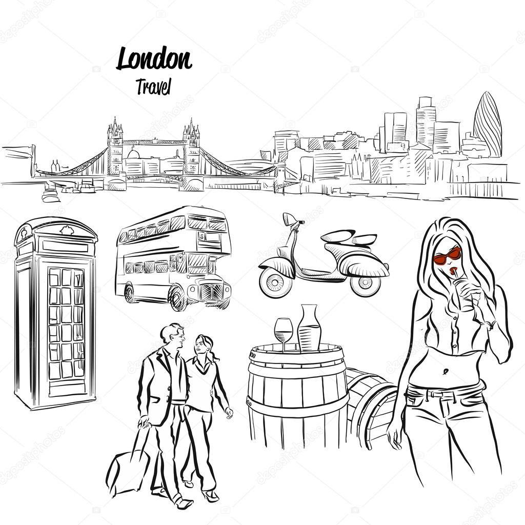 1024x1024 London Panorama And Travel Icons Sketches, Stock Vector Mail