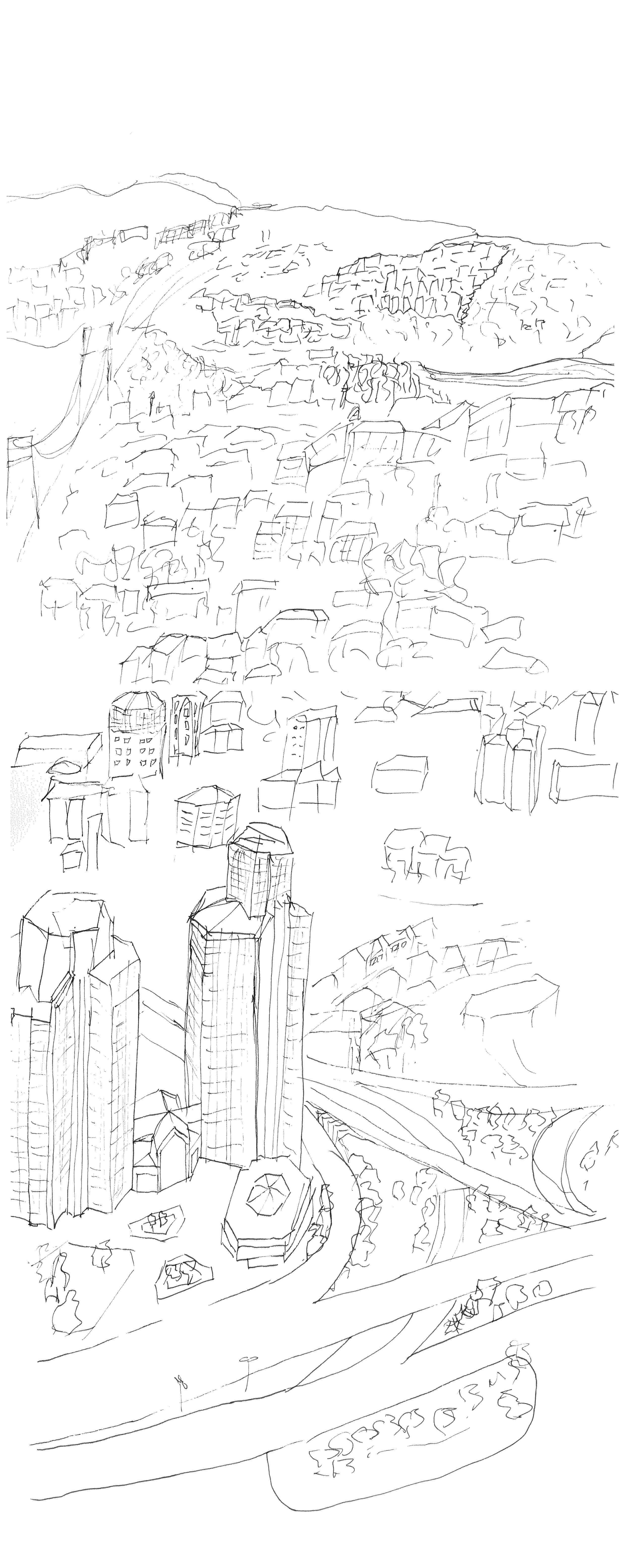 2479x6223 Panorama Drawing 12.11. Julia Tarsten States Of Istanbul